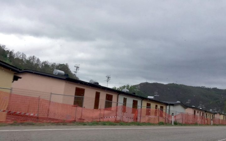 Temporary homes erected beside the road in the Trento Valley