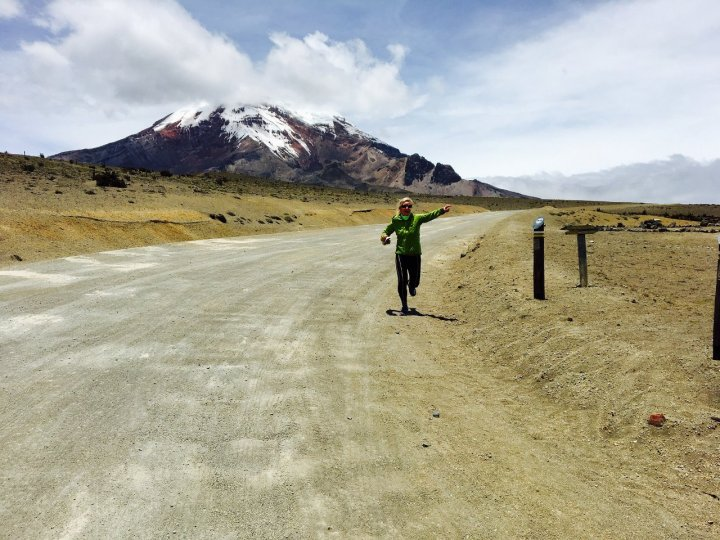 Cycling up to Chimborazo from sea level and circumnavigating it was too easy for Edita, so she ran back down to the park gate as well (Photo: Edita Nichols)