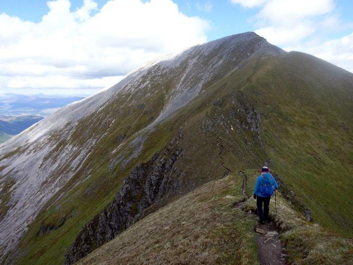 On the Devil's Ridge with Sgurr a Mhaim up ahead
