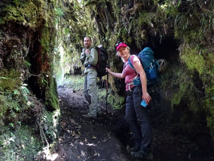 Pablo and Edita in a deep holloway during the ascent up to Tungurahua hut