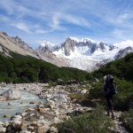 Trekking in the San Lorenzo Valley with Cerro San Lorenzo up ahead