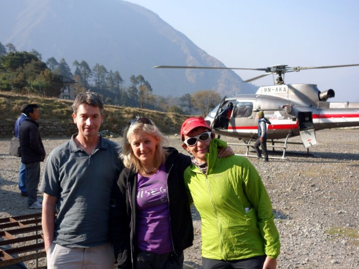 Ian, Edita and Margaret arrive at the helipad in Lukla