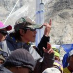 Pasang Tenzing Sherpa, one of the leaders of the protesters, incites the crowd during a speech