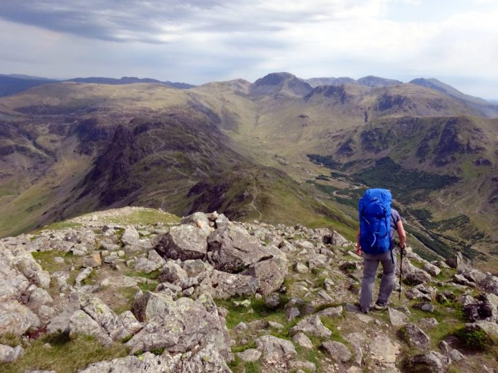 Descending from High Crag, with Haystacks on the ridge below, and the bell shape of Great Gable on the horizon