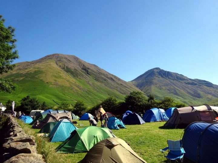The campsite at Wasdale Head Inn, with Kirk Fell and Great Gable rising up behind