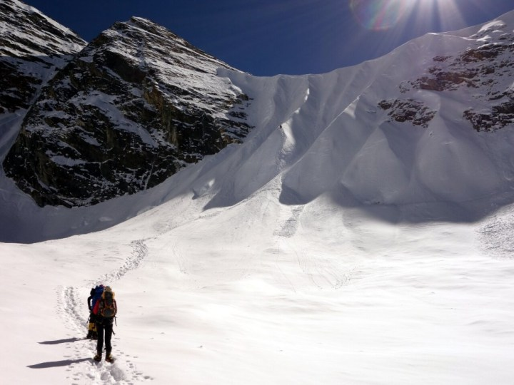 The crux of day 1 of our summit push was the headwall leading up to Camp 1 on the west col