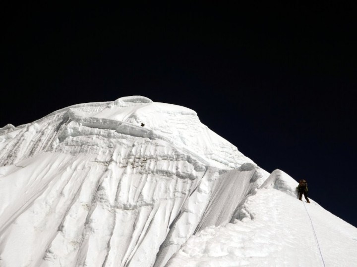 The Southwest Ridge just below Camp 2 turned out to be protected by an overhanging wall of ice
