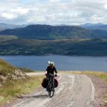 Pedalling up to the infamous Bealach na Ba pass