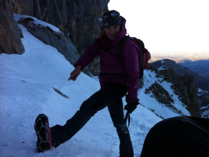 With her boots and crampons still in Kathmandu, Edita had only a pair of microspikes for her feet. Would they be enough?