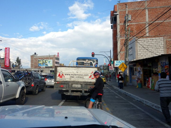 Edita stops at a traffic light on her ride through Riobamba
