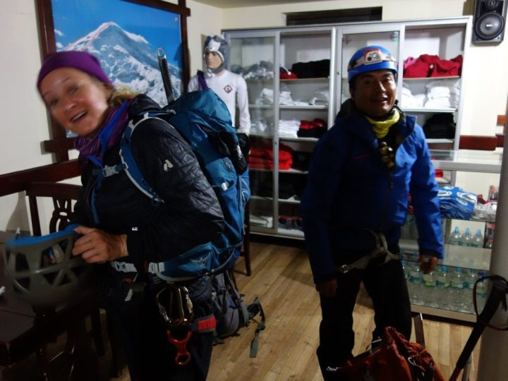 Edita and Romel preparing to leave from Carrel Hut at 10pm