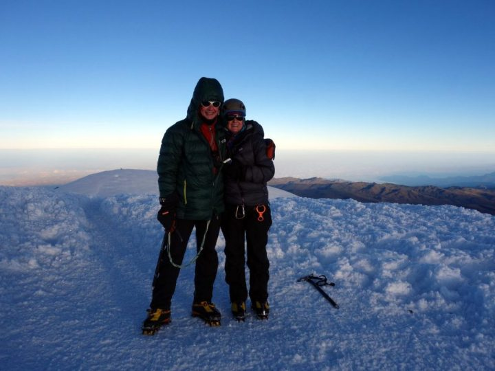 Me and Edita at 6310m on the summit of Chimborazo for a second time