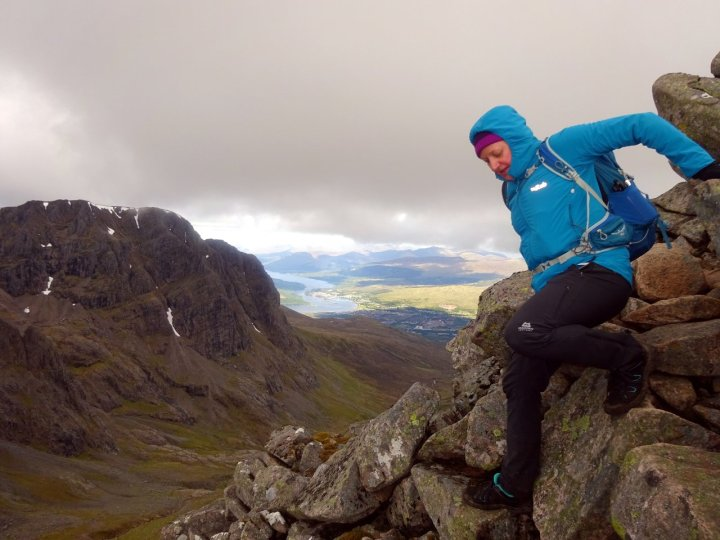 Edita scrambles along the CMD Arête, with Coire Leis and Fort William below