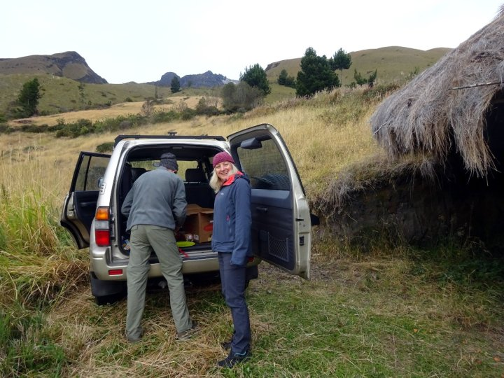 With the car parked at 3,550m, Edita prepares to set off up Imbabura