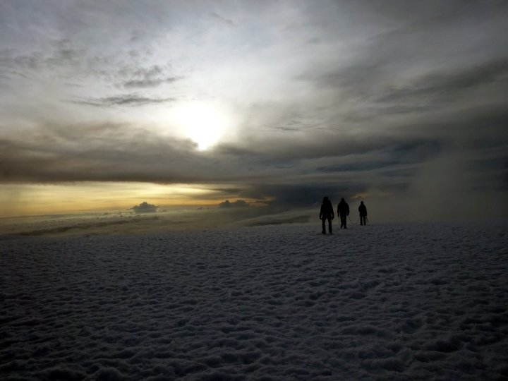 Rope team on Nevado del Tolima's summit plateau