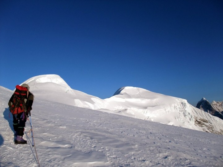 Approaching Mera Peak's two principal summits: Mera Central (left, 6461m) and Mera North (right, 6476m)