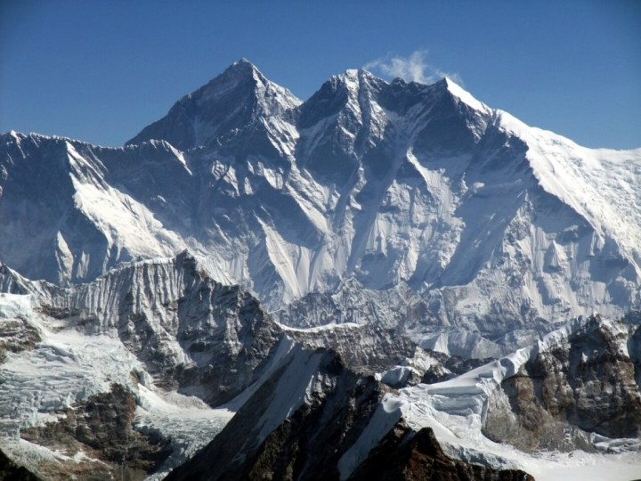 Everest (background) and Lhotse (foreground) from the summit of Mera Peak