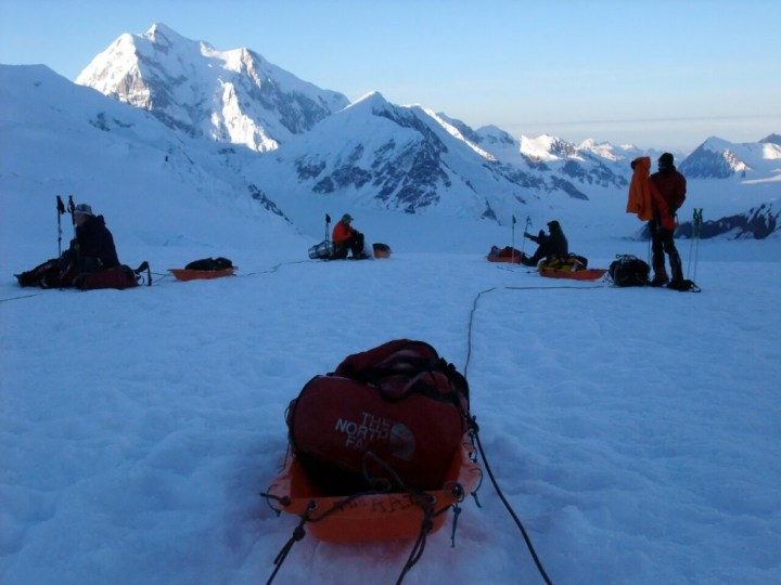 High up on the Kahiltna Glacier with Mount Hunter behind