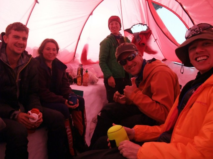 Ian, Charmaine, Aili, Mark and Tim remain in high spirits in the Kitchen tent at Camp 2 despite the dramas