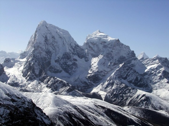 A closer view of Cholatse and the Southwest Ridge (left peak, central skyline) from Gokyo Ri