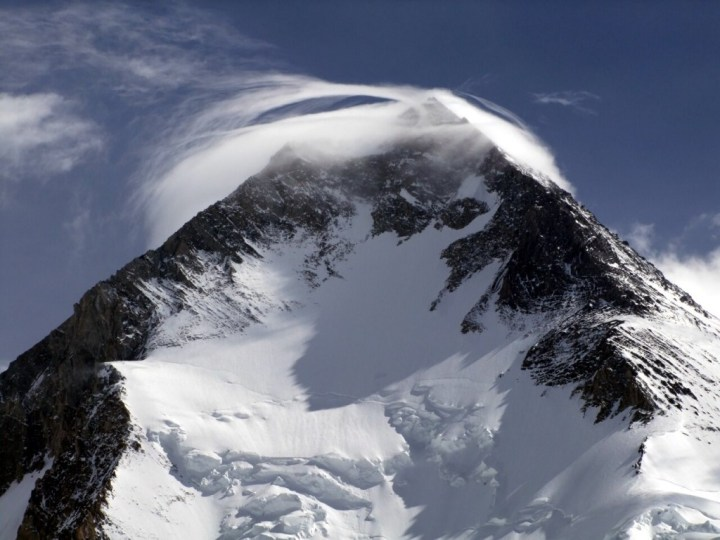 A deadly lenticular cloud hangs over the summit of Gasherbrum I, which has seen five deaths in three separate incidents this season