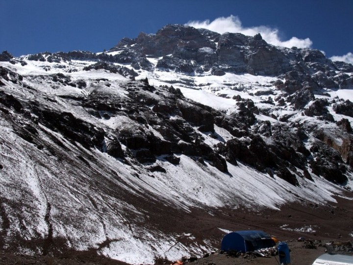 Aconcagua isn't the most impressive-looking mountain from base camp at Plaza de Mulas