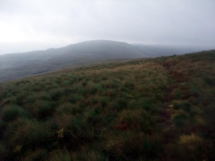 Looking across boggy moorland to Foel Fras from Moel Penamnen