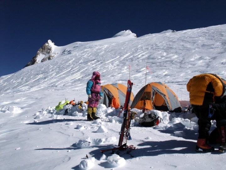 At Camp 4 beneath the East Pinnacle and main summit