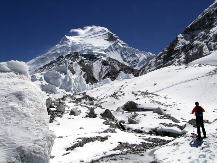 Cho Oyu seen from the Tibetan side of the Nangpa La. Herbert Tichy made the first ascent on 19 October 1954 with Pasang Dawa Lama and Sepp Jochler