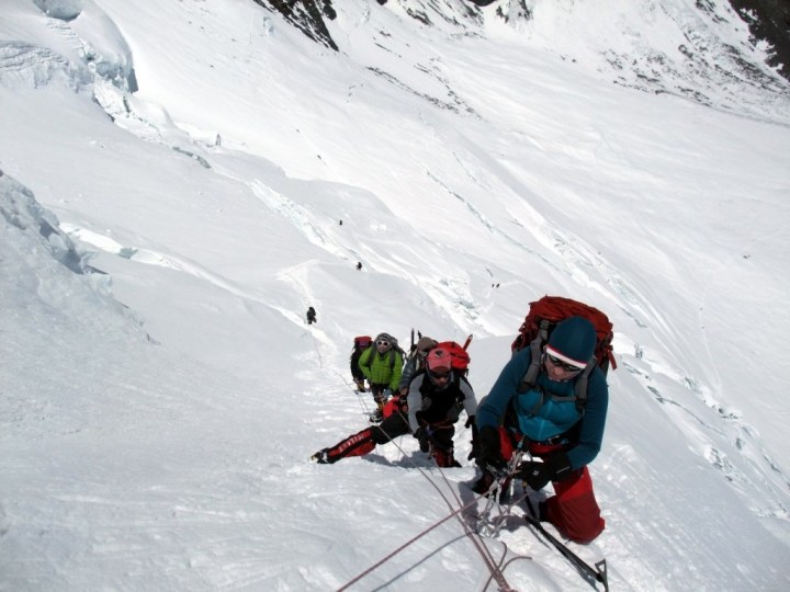 I certainly found these fixed ropes below the North Col on Everest's north side a great help, but some people regard them as cheating