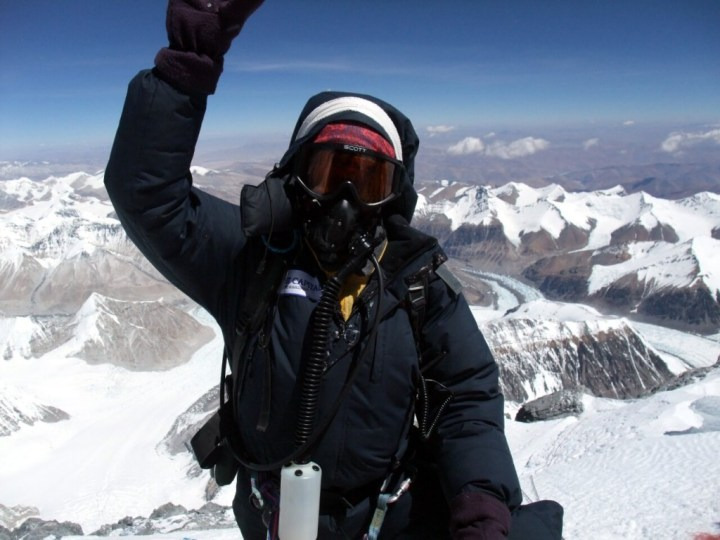 Chongba Sherpa, another Everest superstar, on the summit after his 13th ascent