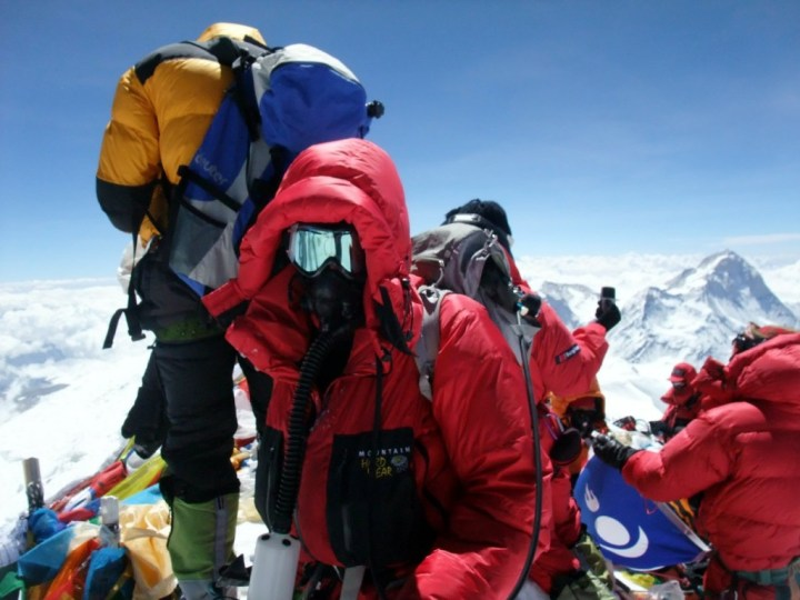 Record numbers reached the summit of Everest on 19 May 2012. Here I am with just a few of them.