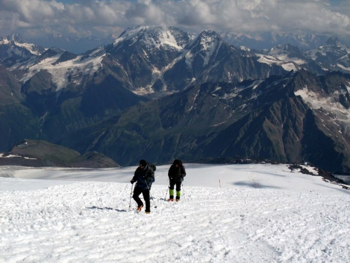 While Elbrus offers easy snow slopes, the Caucasus Mountains to the south are full of rocky summits, narrow ridges and hanging glaciers