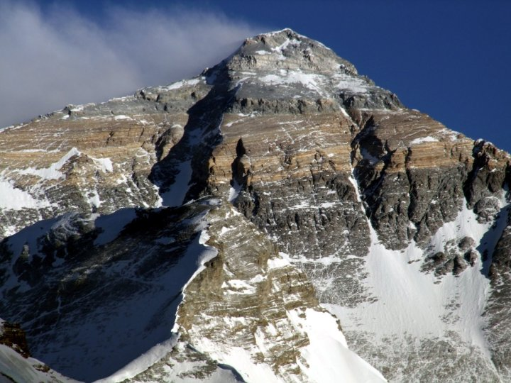 The North Face of Everest, the focus for several of Robert's expeditions, with the Great Couloir (or Norton Couloir) left of centre and the Hornbein Couloir extending into the Super Couloir right of centre.