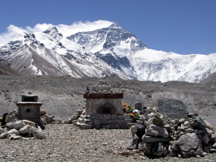 Memorials on the north side of Everest, to those who have died trying to climb it