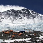 Advanced Base Camp on the north side of Everest, with winds pounding the Northeast Ridge behind