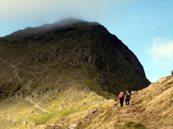 Walkers approach Snowdon's summit from the southeast