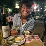 Michelle enjoying some Italian vino bianco during a visit to Rome