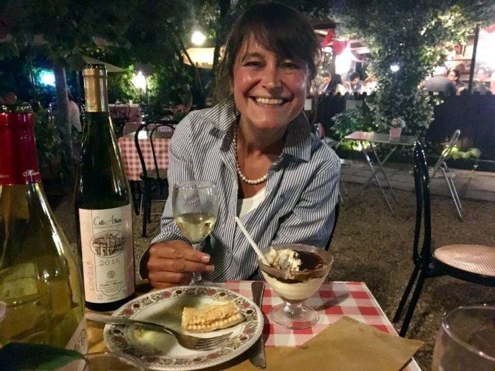 Michelle enjoying some Italian vino bianco during a visit to Rome (Photo: Edita Horrell)