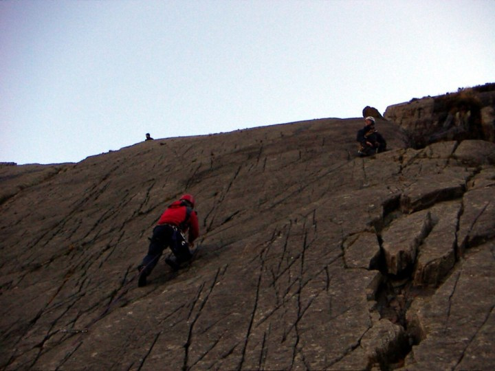 Multi-pitch rock climbing in North Wales