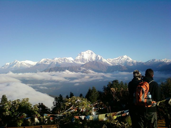 Dhaulagiri from Poon Hill. Gurja Himal is the mountain on the extreme left of the photo (Photo: Manish Dangol / Wikimedia Commons)
