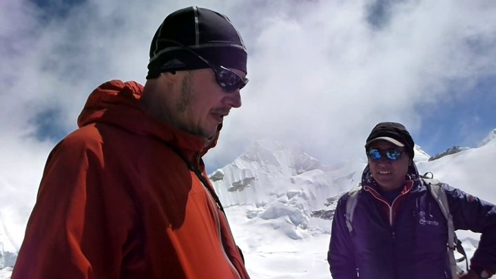 Gombu and I discuss how Kangchenjunga came by its name on the summit of Drohmo Ri