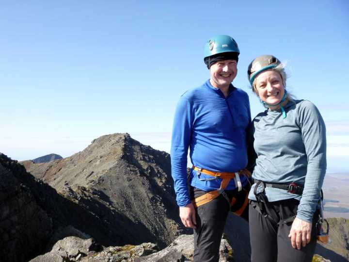 Me and Edita on the summit of Am Bastier, with Bruach na Frithe behind