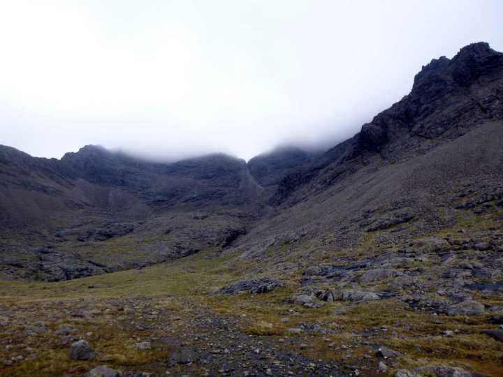 View up to the cleft of An Dorus in mist