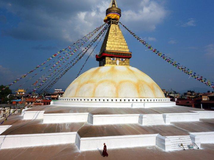 A hazy view of the Himalayas from Boudhanath stupa, Kathmandu
