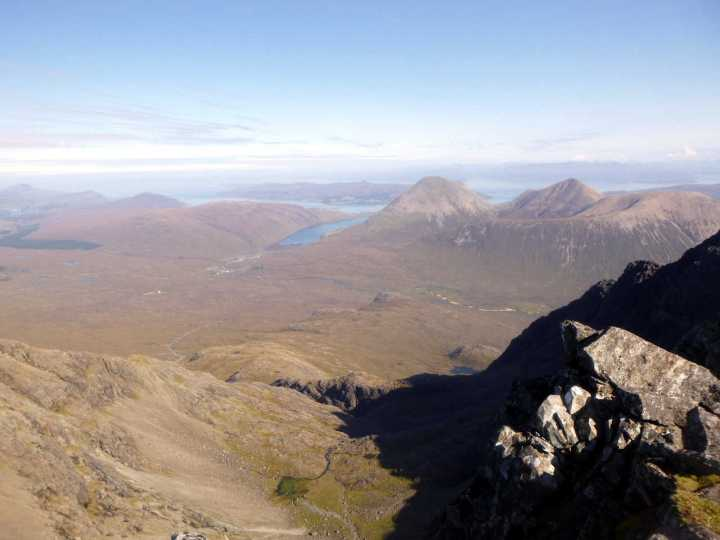 View down into Coire a Bhasteir from the summit of Am Basteir, with Sligachan at the head of the loch and the Red Cuillin to the right