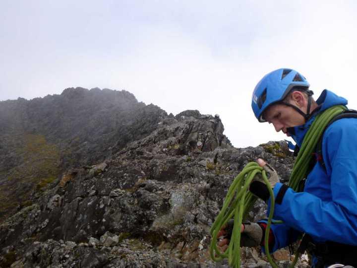 Dave on the knife-edge ridge to Sgurr a Ghreadaidh