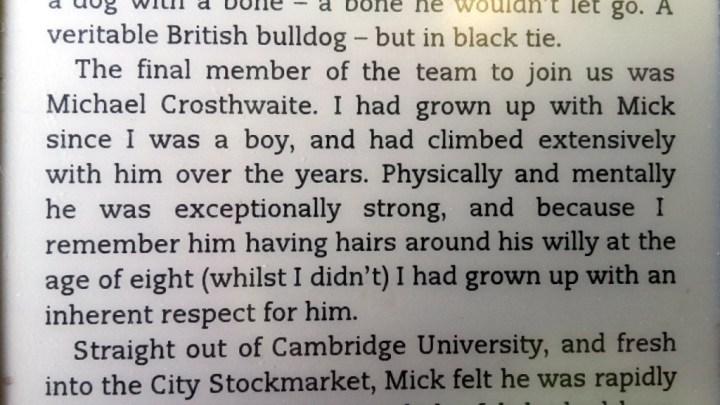 An excerpt from Bear Grylls' book Facing Up