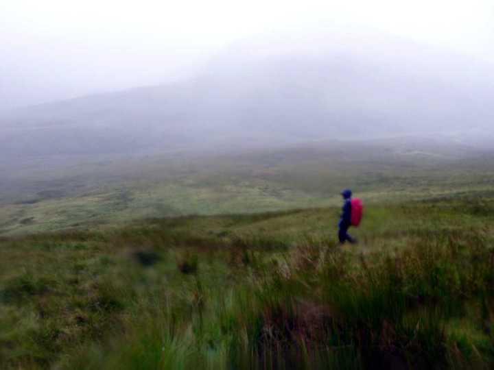 Descending rough bogland from the Grey Corries' ridge to Glen Nevis