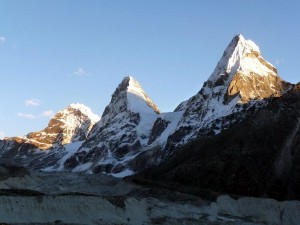 Kangchung Peak (middle) in the Khumbu region of Nepal will henceforth be known as UIAA Peak (Photo: Brent Smith)